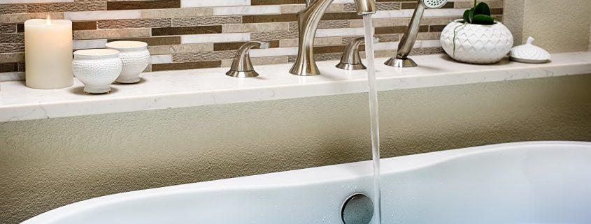 Ceramic tile tub filler acrylic free standing tub